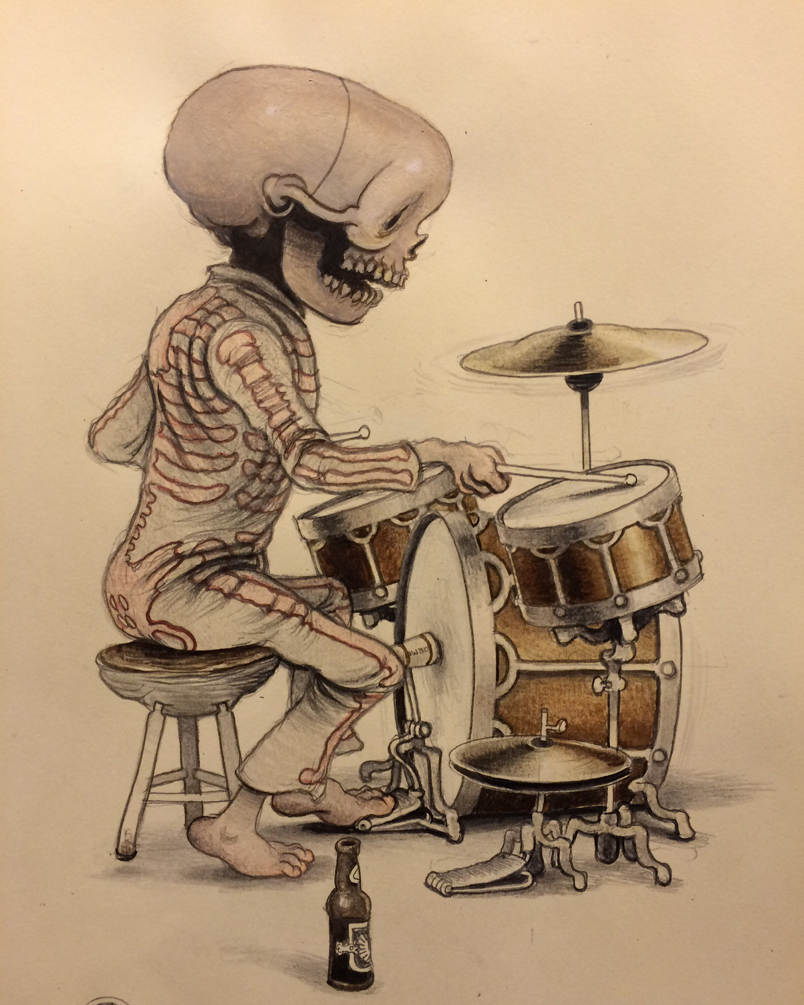 Playin' along to Mr. Baker~ watercolor on moleskine