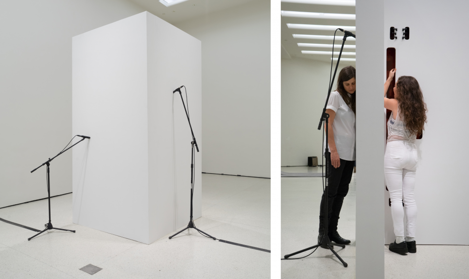 Naama Tsabar, Closer , 2014. Wood, metal, microphones, microphone stands, tuners, guitar strings, and PA system. 54.5 x 54.5 x 108 inches.©Naama Tsabar and courtesy of Shulamit Nazarian.