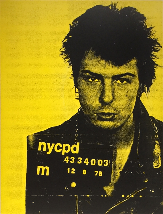 Russell Young  Sid Vicious – Yellow (from Pig Portrait Series), 2002  Acrylic and silkscreen on canvas 62 x 48 in. (157.48 x 121.92 cm.) Signed in pencil on verso; inscribed along the right edge  Edition of 2