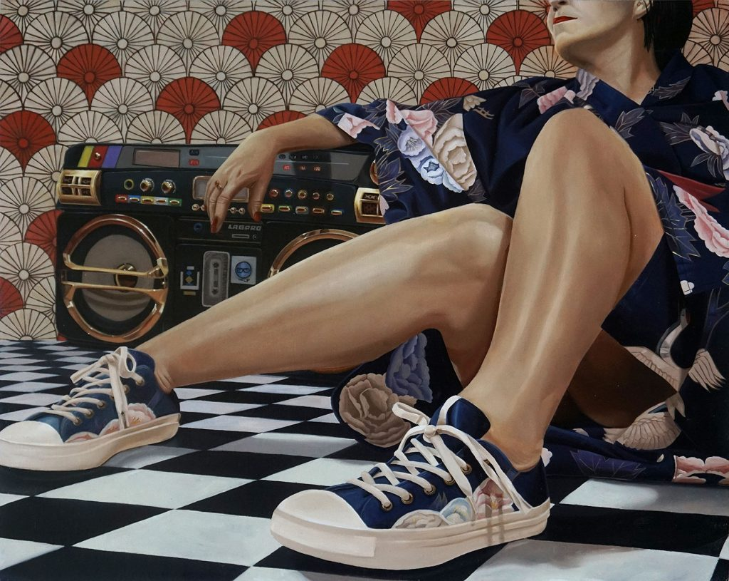"Ken Flewellyn - ""Living Large"" (2017) Oil on wood panel - 20"" × 16"""
