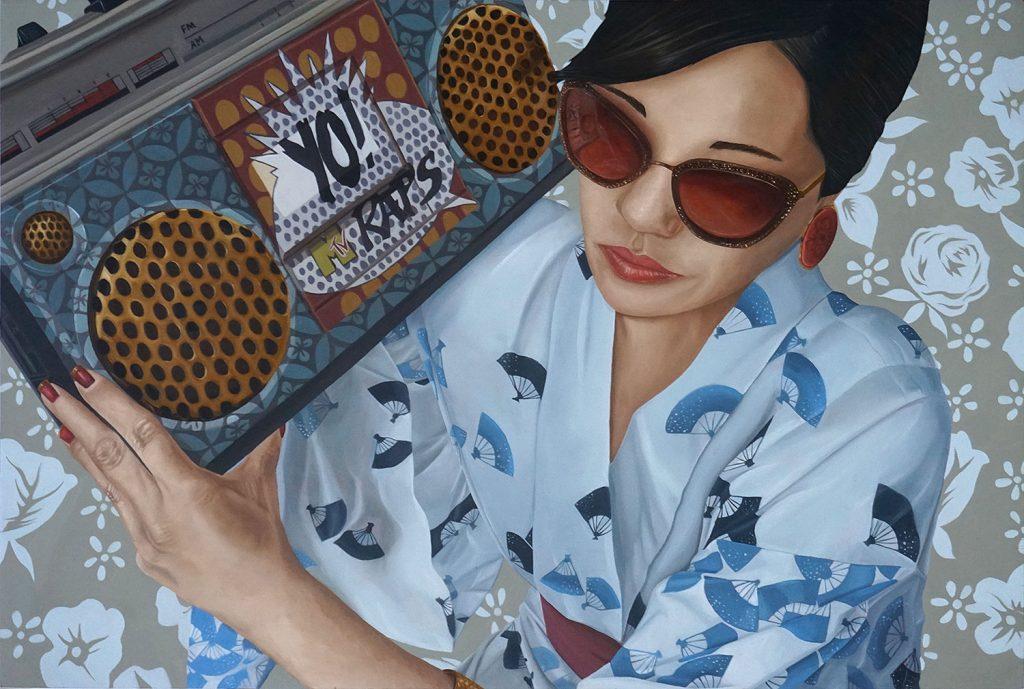 """Ken Flewellyn - """"Yo!"""" (2017) Oil on wood panel - 24"""" × 16"""""""