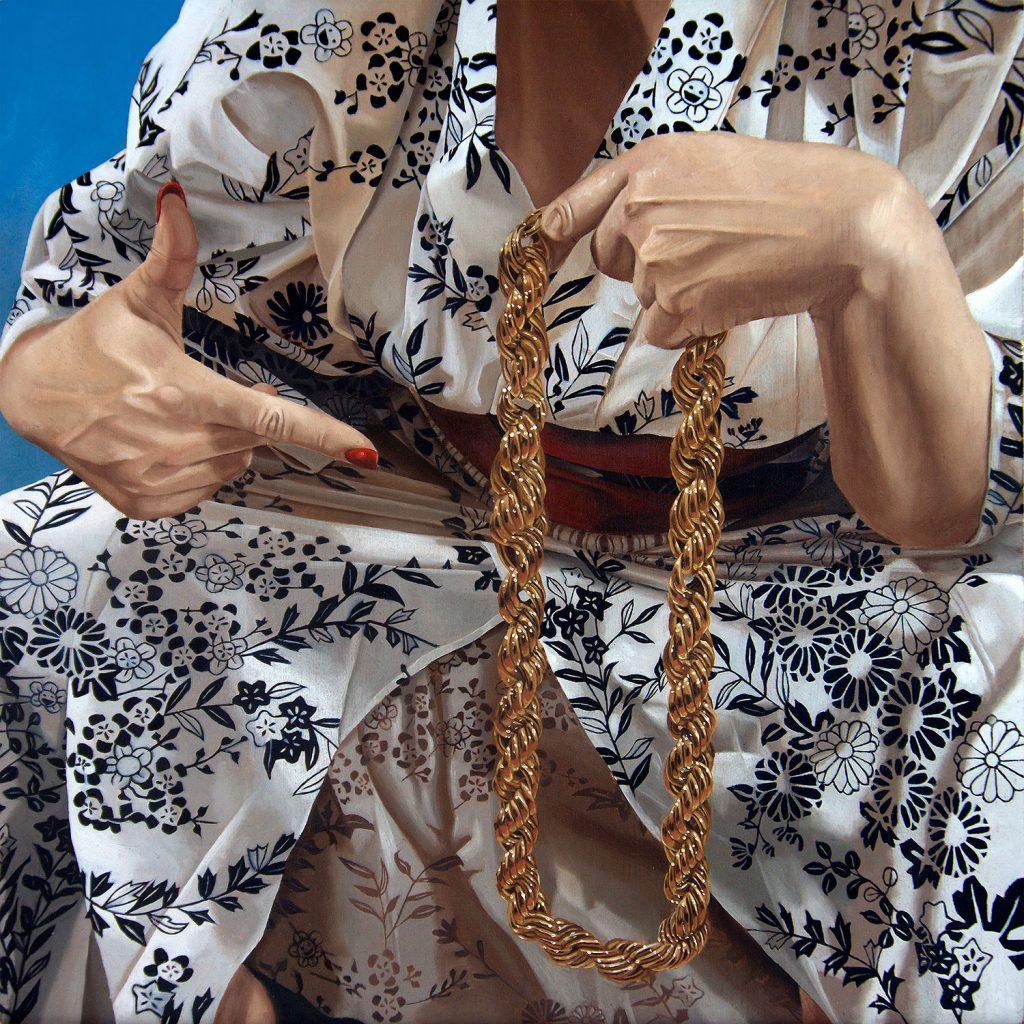 """Ken Flewellyn - """"Stay Gold"""" (2017) Oil on wood panel - 12"""" × 12"""""""