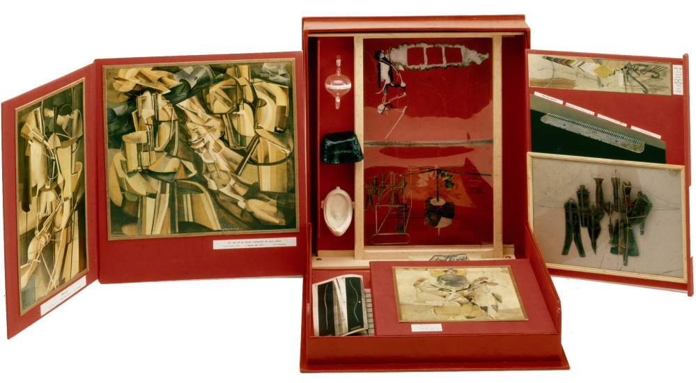 "Boîte en-Valise,"" 1961, box by Marcel Duchamp containing miniature reproductions of his work."