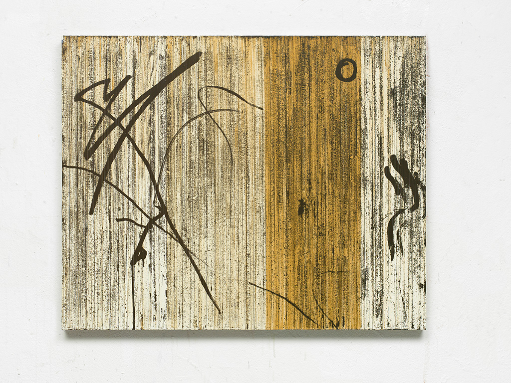 "Gregor Hildebrandt ""Im Zickzack durch die Zeit (Toco)"", 2016  cassette tape and acrylic on canvas 74 x 92 x 3 cm  Courtesy of the artist and WENTRUP, Berlin"