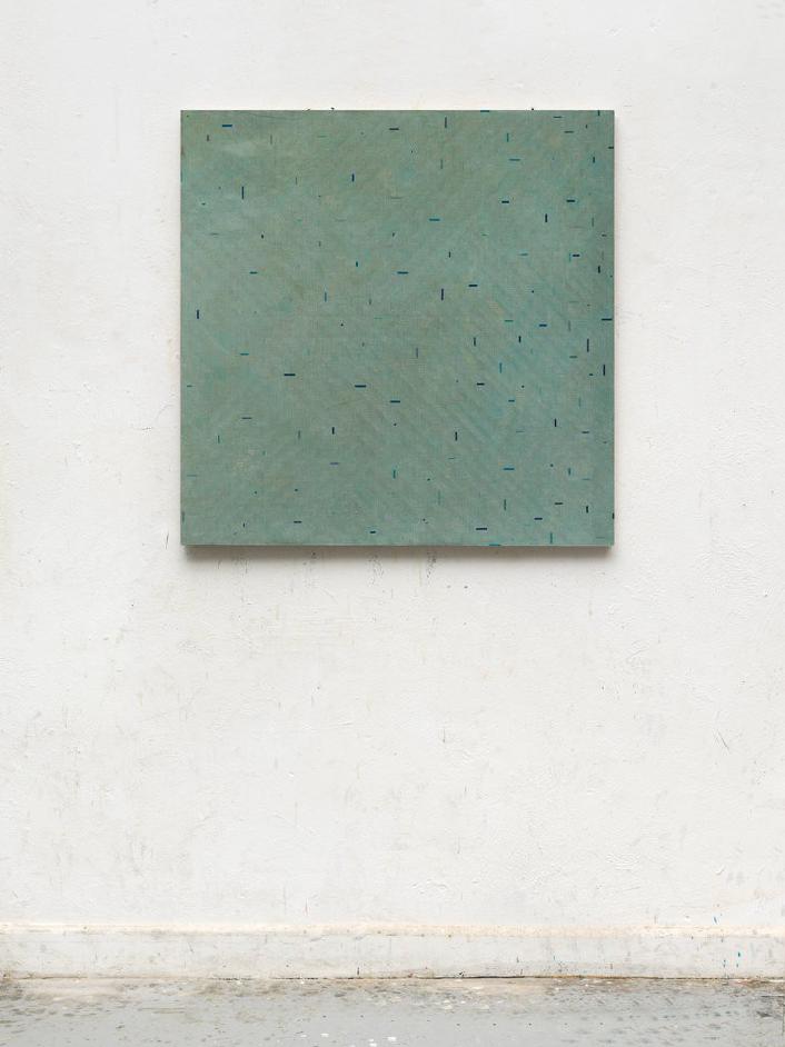 Gregor Hildebrandt trüb grau ins blau, 2017 Start and end of audio cassettes on canvas 97 x 97 cm - signed  Courtesy of the artist and GALERIE KLÜSER