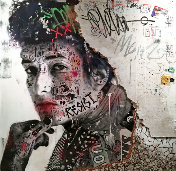 The Voice of Protest (Bob Dylan)   Mixed media on canvas with reclaimed wood & Tunisian hand painted tiles  60 x 60