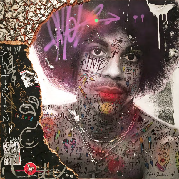 Purple Rain (Prince) 2018   Mixed media on canvas with reclaimed wood & Tunisian hand painted tiles  36 x 36