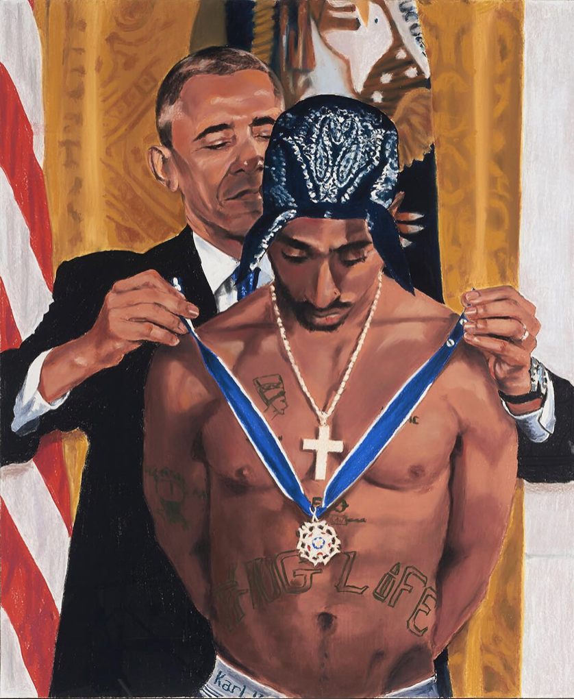Makaveli of Freedom, 2018, pastel on sandpaper, 67x56in.