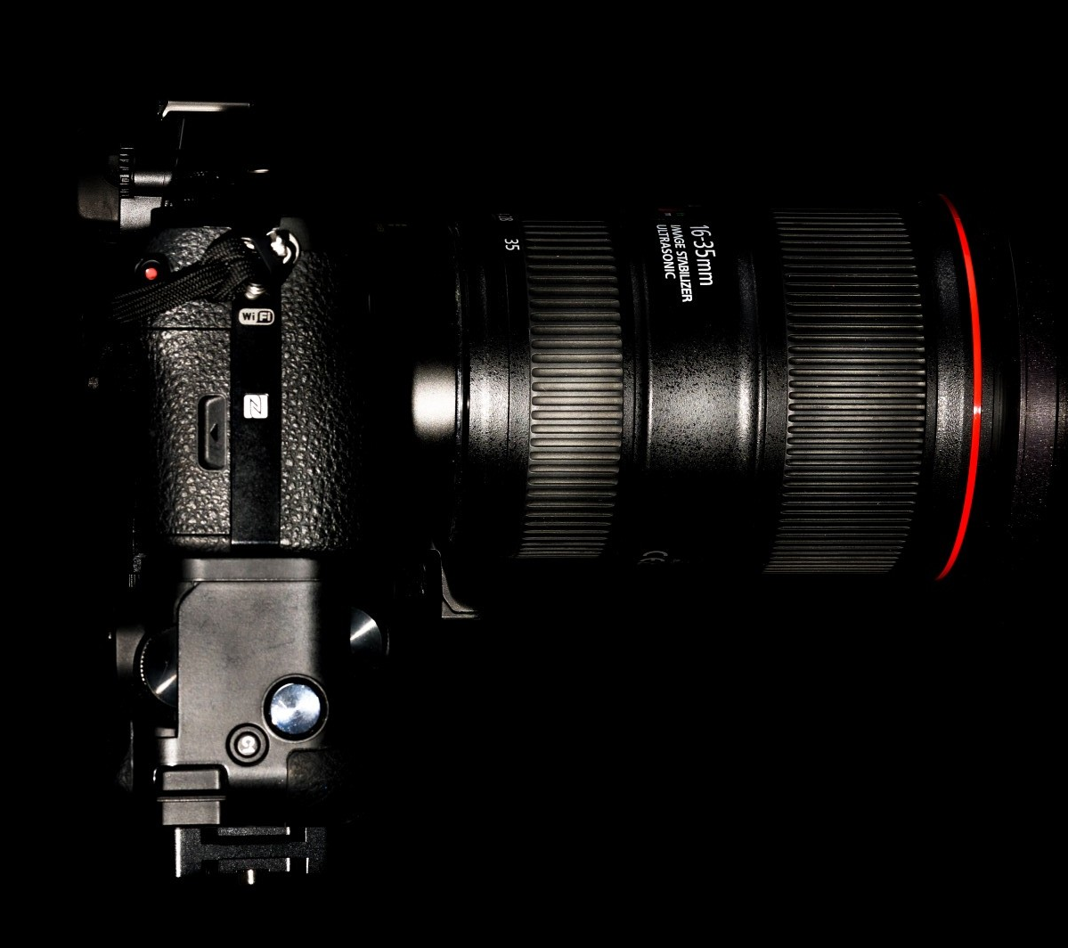 Not so compact! - Sony A7r with battery grip attached, L-Plate and Canon 16-35mm