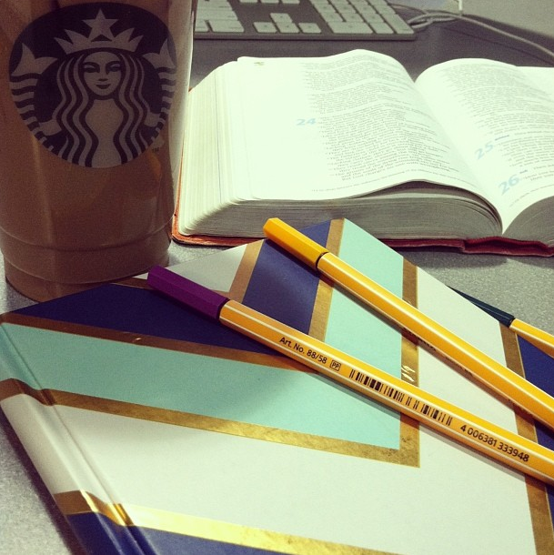 sjpeters   Working eight hours at the Math Emporium today so I'm taking advantage of the quiet to spend some quality time with Jesus. and Starbucks just makes it sweeter #sweetspots