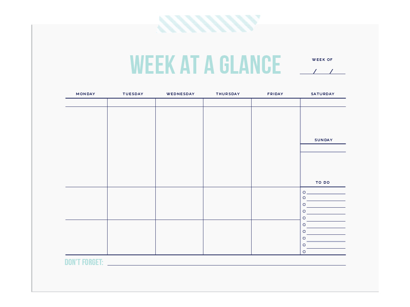 Week-at-a-glance calendar from Elle & Company