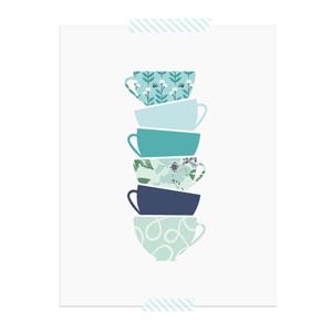 Stacked Tea Cup printable art print  |  Elle & Co.