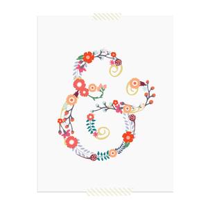 Floral Ampersand printable art print  |  Elle & Co.