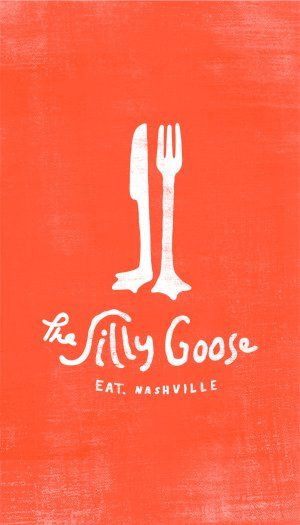 I love the character of the type in this logo. It fits the silly, awkward name of the restaurant perfectly! (And those utensils with the goose feet make me smile every time. So clever!)