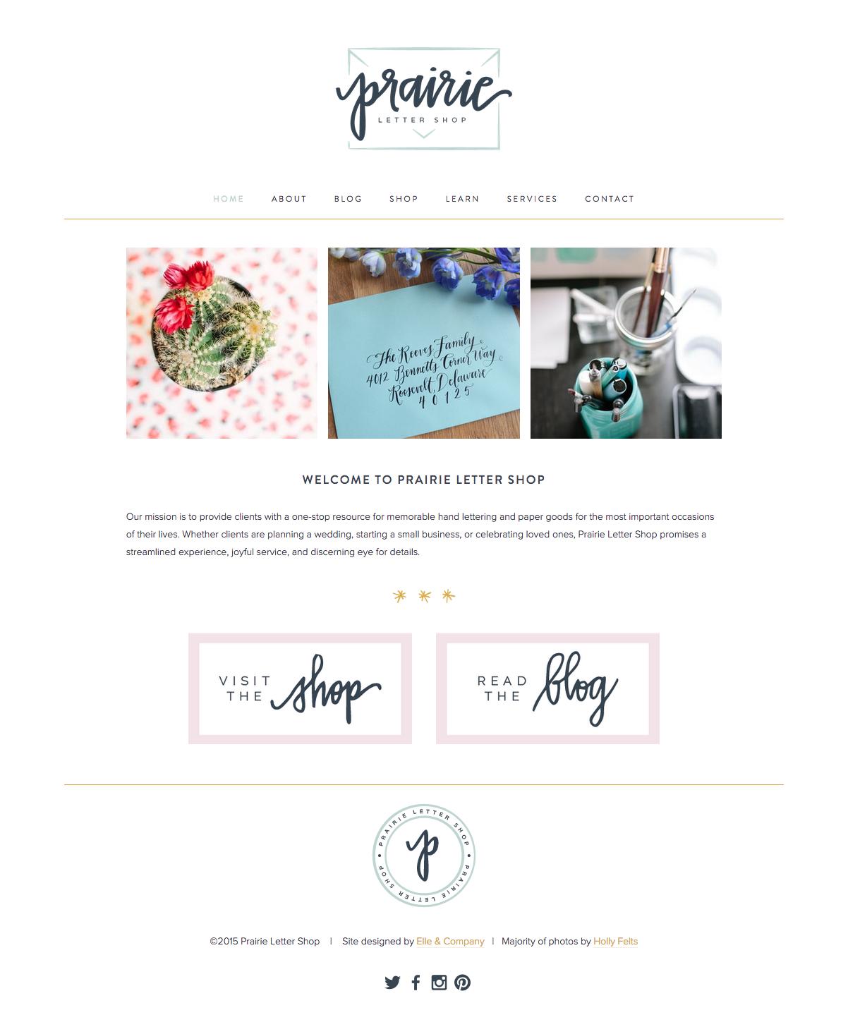 New Brand + Website Design for Prairie Letter Shop | Elle & Company