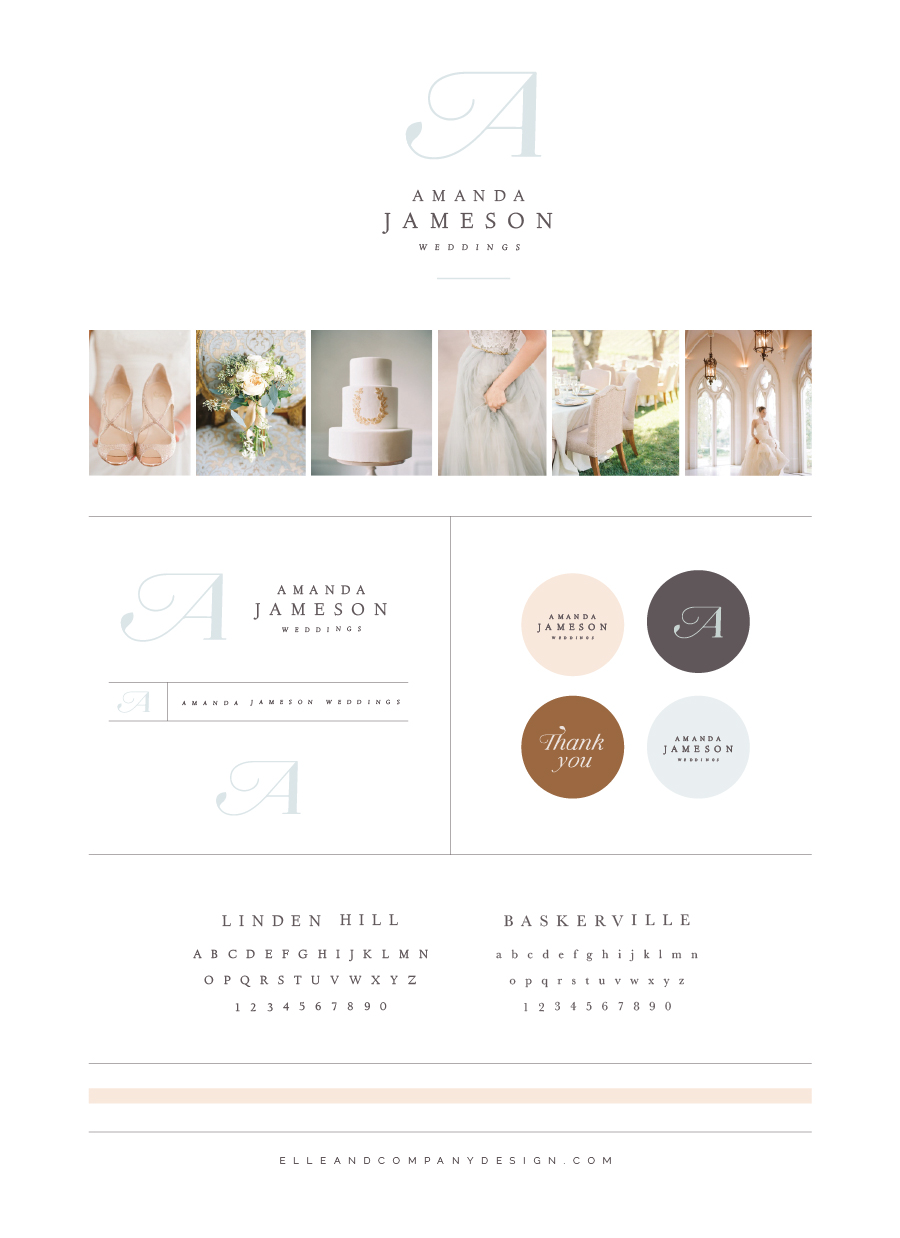 New Brand + Website Design for Amanda Jameson Weddings | Elle & Company
