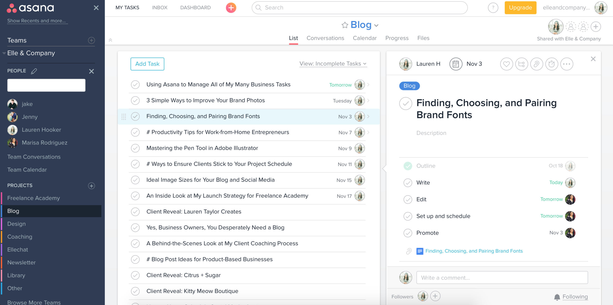How I Manage Business Tasks with Asana | Elle & Company