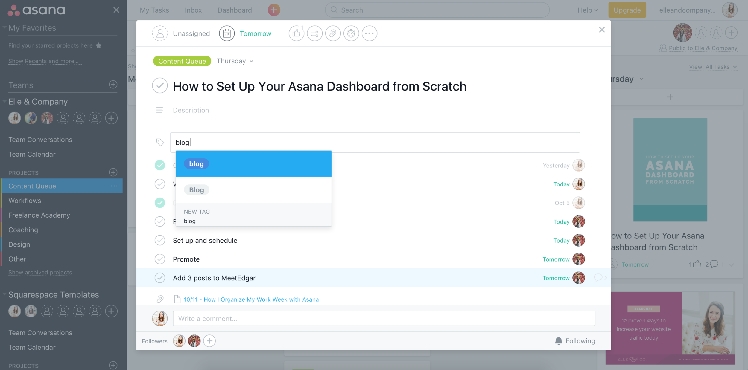 How to Set Up Your Asana Dashboard from Scratch | Elle & Company