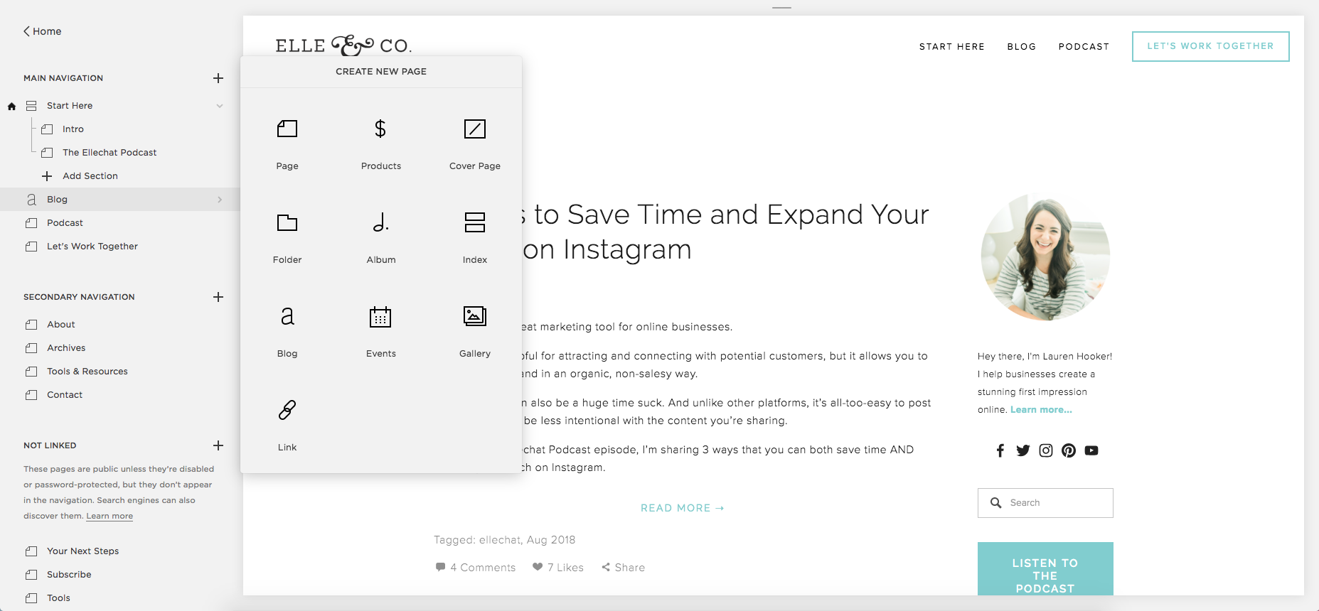 A Trusty Guide for Setting Up Navigation, Pages, and Blocks in Squarespace | Elle & Company