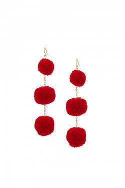 Vanessa Mooney - Dragnet Pom Pom Earrings in Red