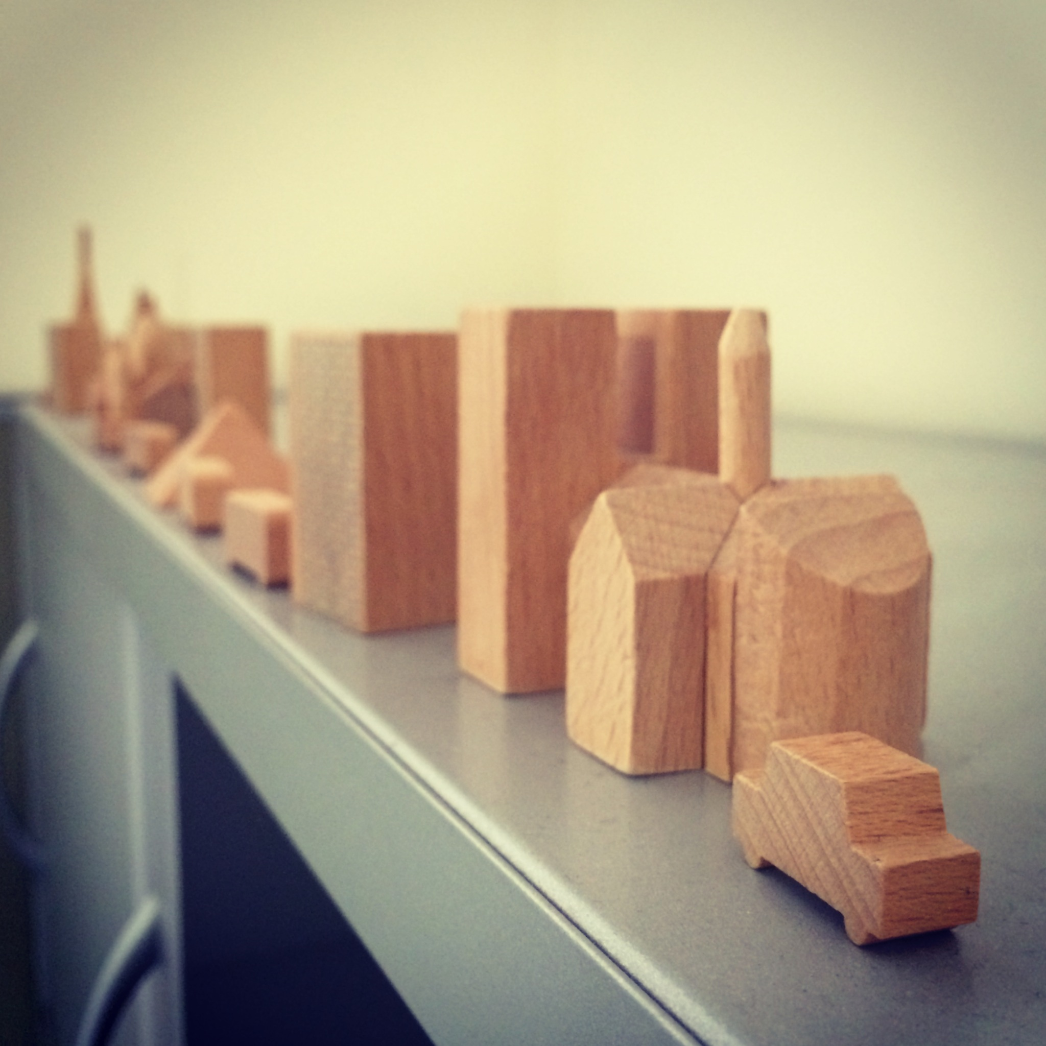 These are my favorite desk decor accessories: Muji's wooden block interpretation of gay Pay-ree.