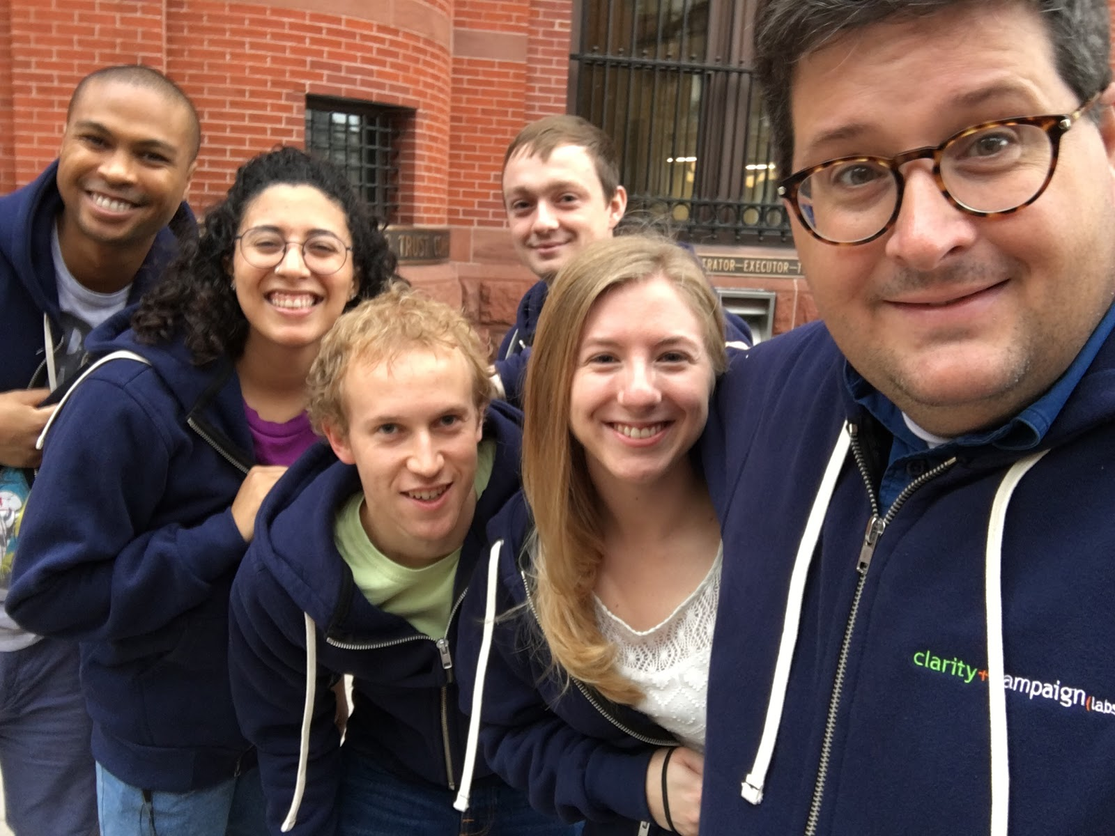 Clarity team canvassing in their matching hoodies for GOTV weekend 2018.