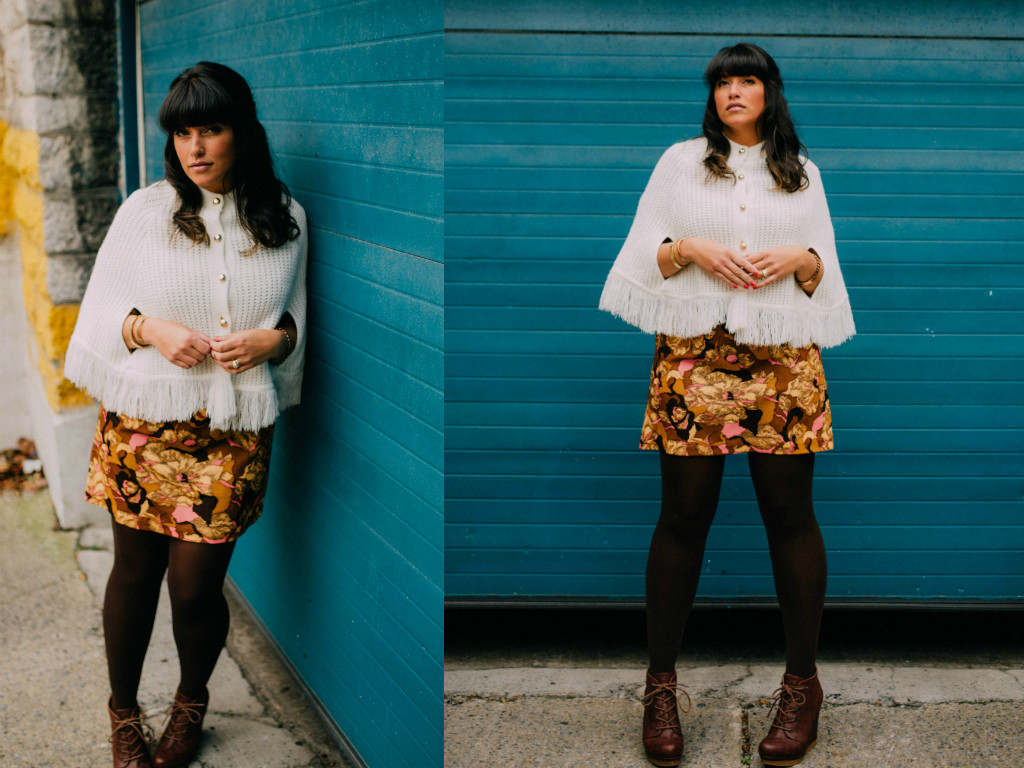 shop this look:  cutest white poncho ,  mod shift abstract dress