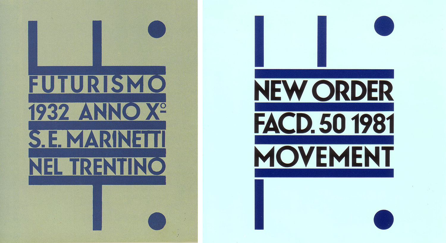 Peter Saville's cover for New Order's Movement LP, 1981, after Fortunato Depero's Futurismo, 1932