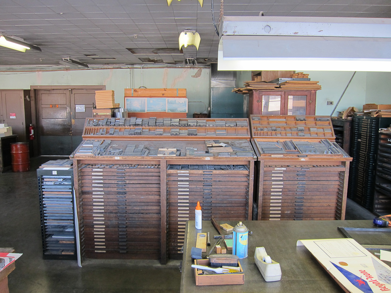 Type cabinets going back to the days of Star Printing