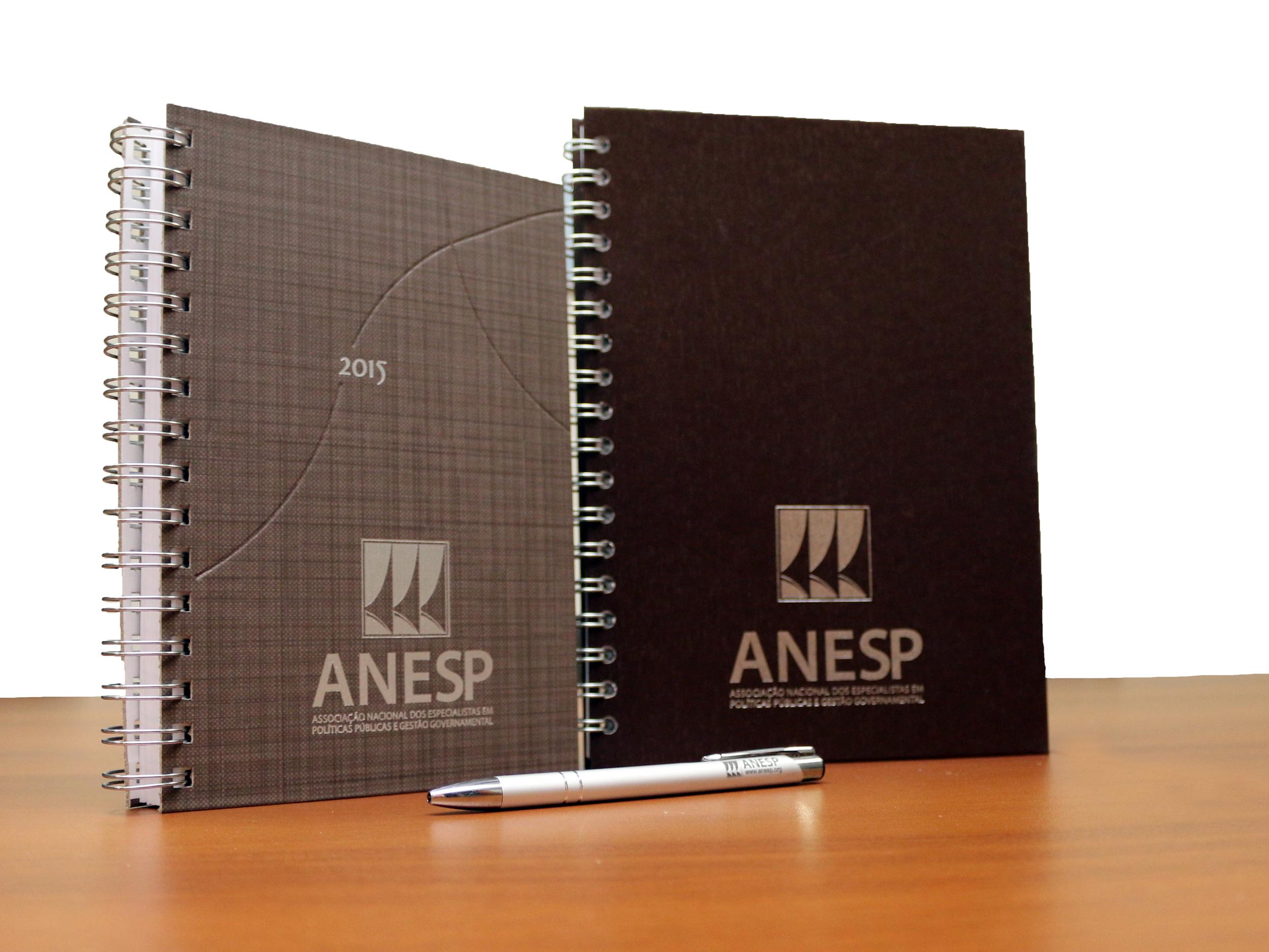 Kit ANESP 2015 é composto por agenda, caderno e caneta. Foto: Filipe Calmon / ANESP