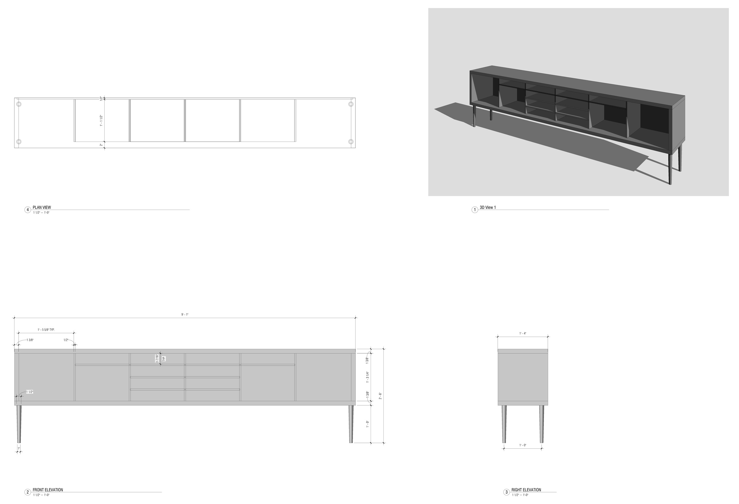 Credenza drawings.