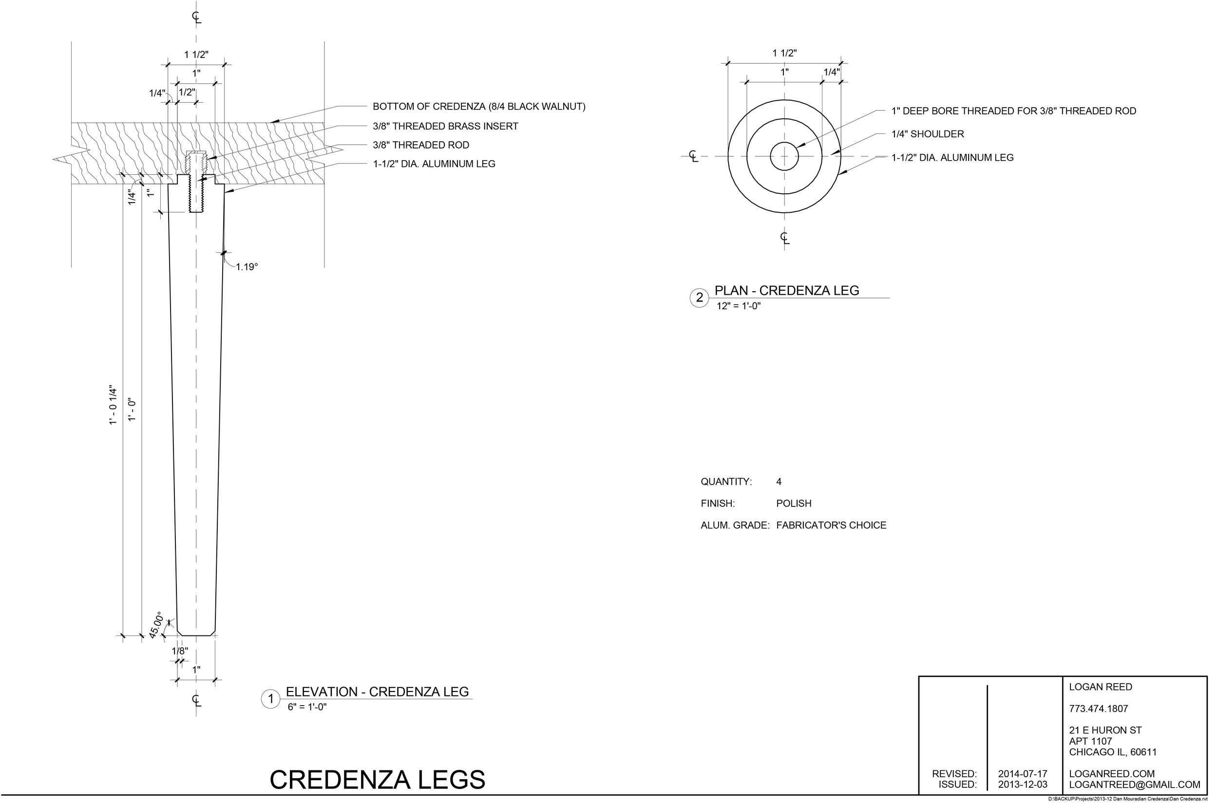 Aluminum leg drawings.