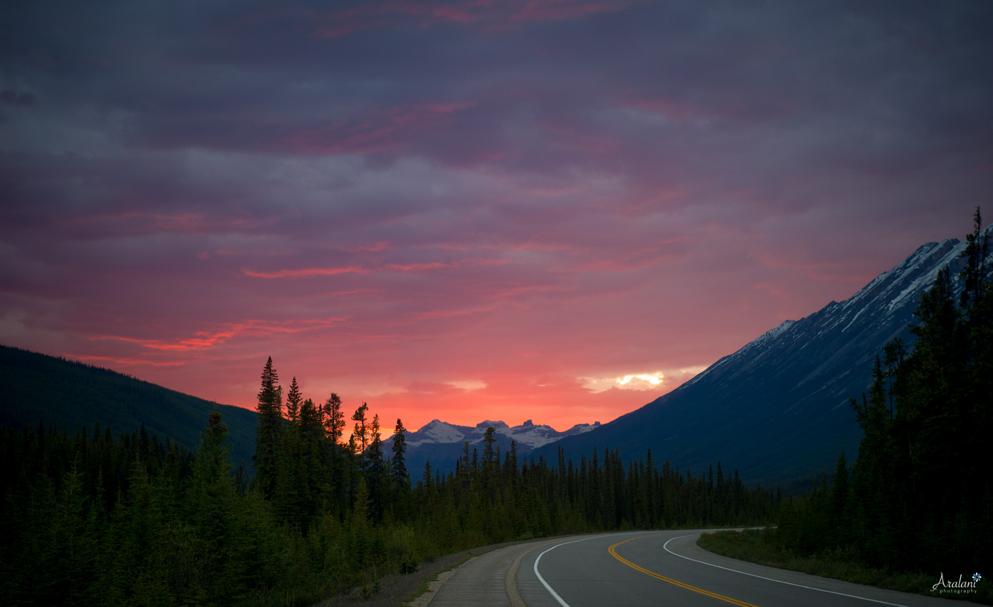 The Icefields Parkway in Jasper National Park, Canada.