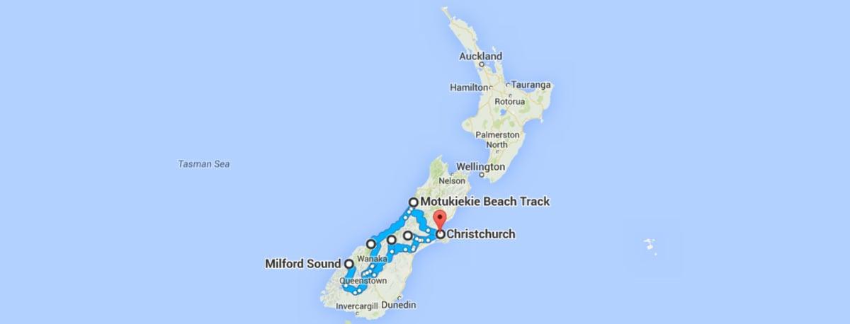 South Island Roadtrip Map