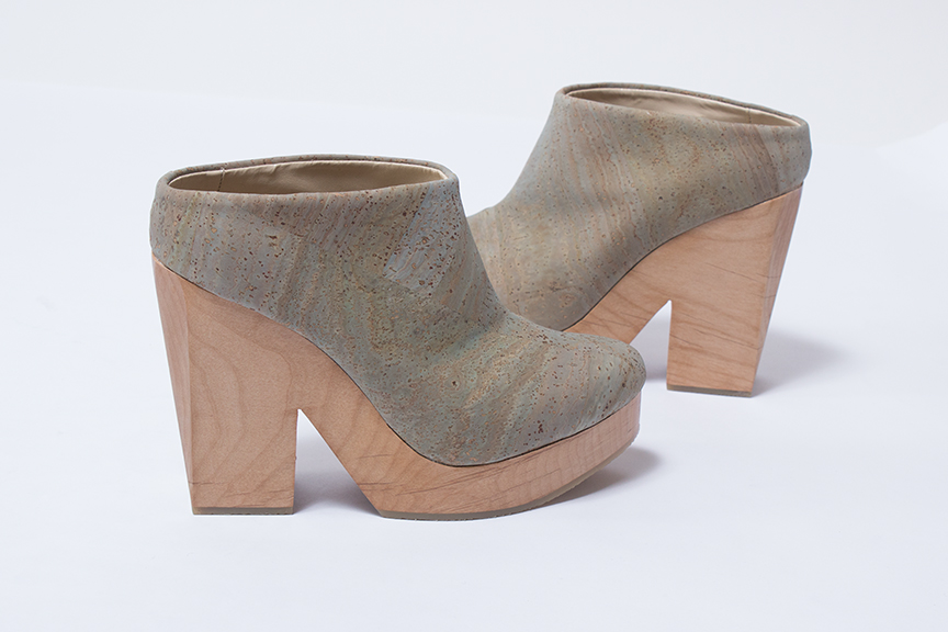 Sydney Brown heeled clog in slate and cork with natural wood platform- sizes 38, 39, 40, and 41 available - $475.