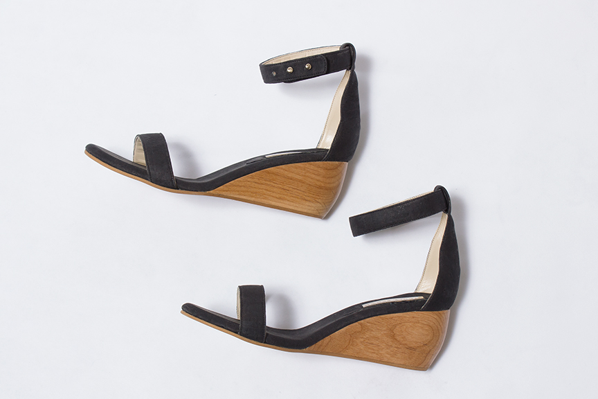 Sydeny Brown wedge sandal in charcoal and cork with natural wood wedge- sizes 38, 39, 40, and 41 available - $425.