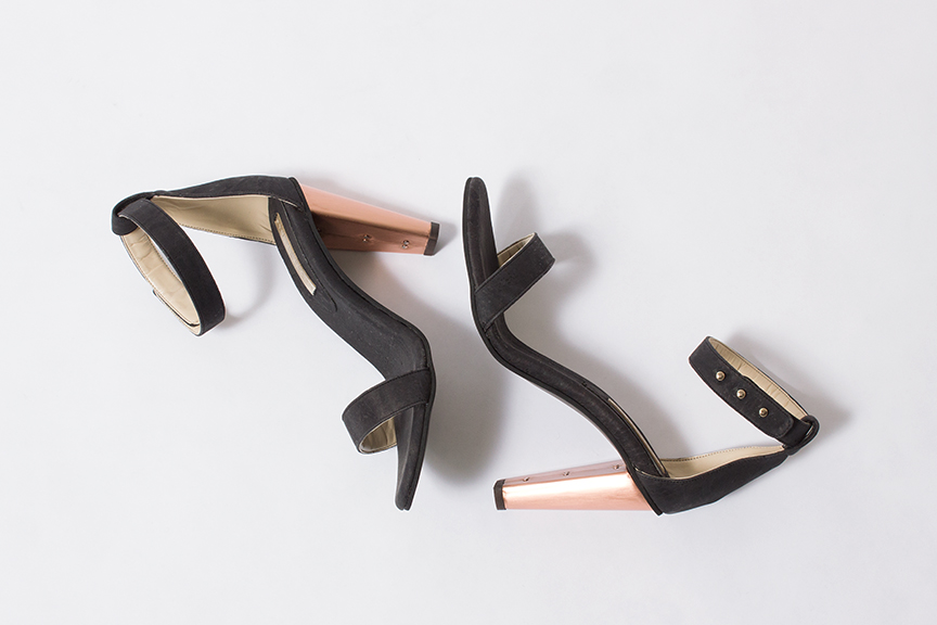 Sydney Brown open heel in charcoal and cork with copper heel - sizes 38, 39, 40, and 41 available - $450.