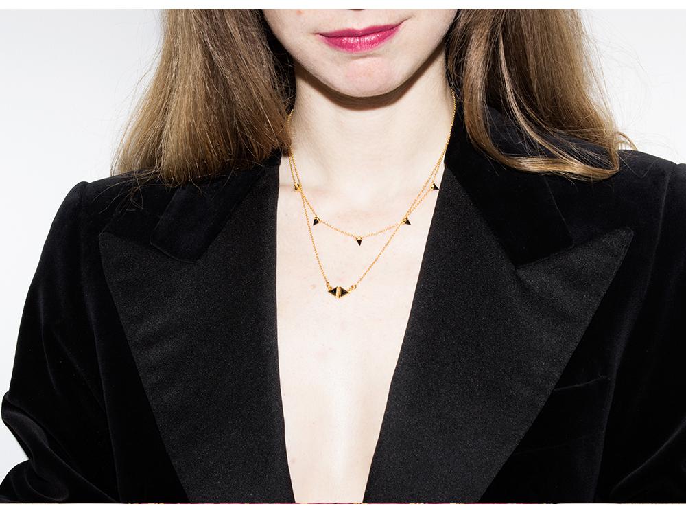"KATIE DIAMOND ""Grayson"" 5 point necklace in black garnet - $175, KATIE DIAMOND ""Tessa"" necklace - $175, VINTAGE 90s black velvet tuxedo blazer - $90 size M, VINTAGE 50s metallic skirt - $165 size S, SYDNEY BROWN open toe cork and copper heels - $450 size 38, 39, 40, and 41 available"