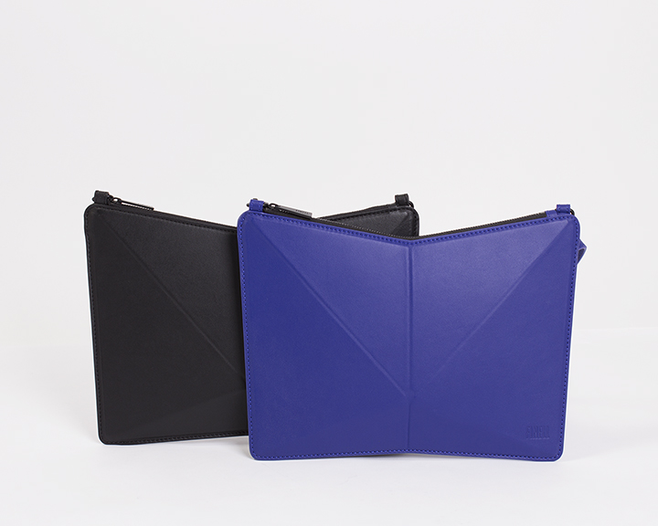 "FINELL  ""Versus"" Crossbody in Black and Cobalt - $725"