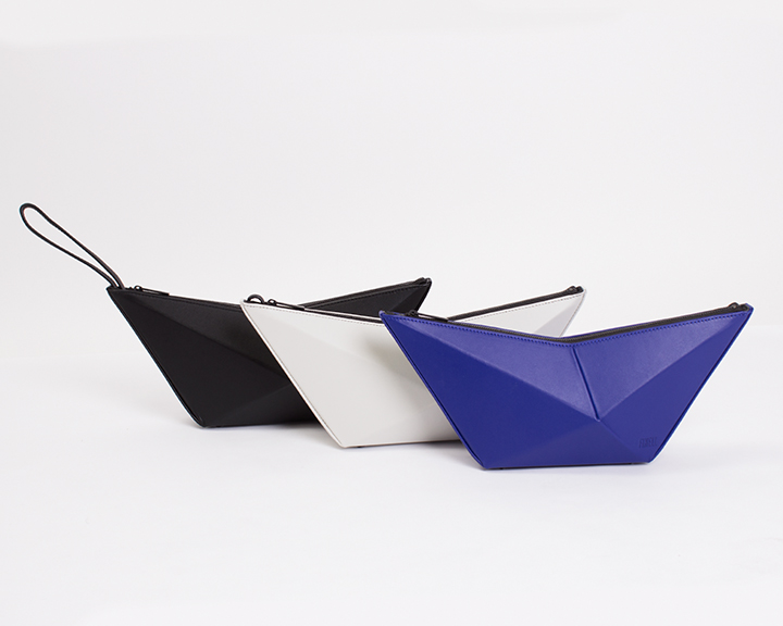 "FINELL  ""ISO"" Clutch in Black, Bone and Cobalt - $545"