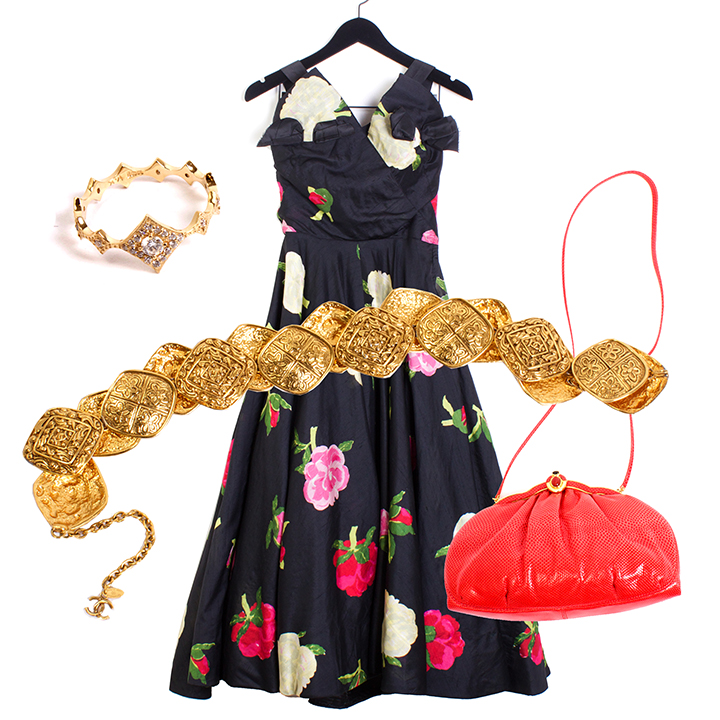 """THE CLASSIC GIRL    KATIE DIAMOND  """"Leighton"""" Ring 14K Yellow Gold and Diamonds Ring - $2164 size 7,  NEIMAN MARCUS  50s Crepe Party Dress - $395 size M,  CHANEL  80s Gold Medallion Belt - $895,  JUDITH LEIBER  80s Snakeskin Purse - $295."""