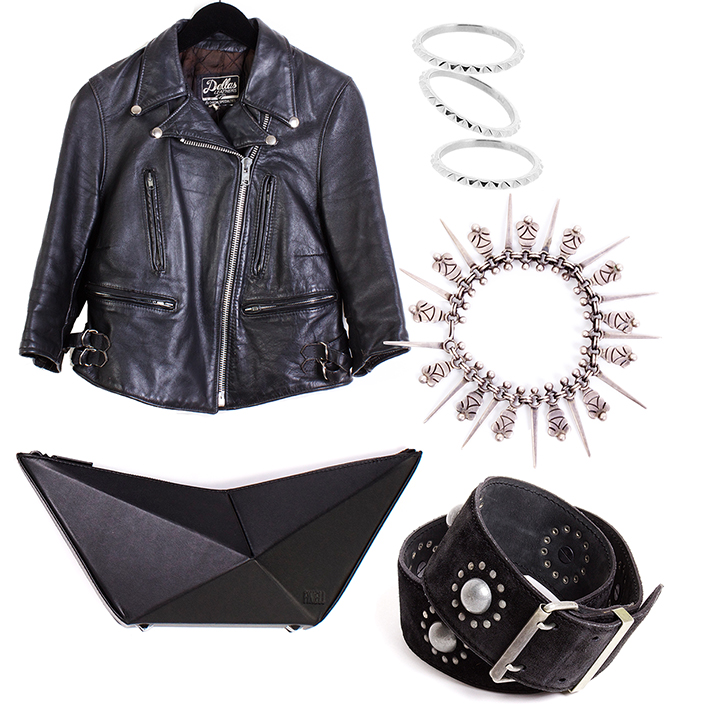 """THE EDGY GIRL     VINTAGE  70s Leather Jacket - $175 size S,  MEADOWLARK  Fine Studded Stacking Ring - $140 sizes 6, 7 available,  VINTAGE  Taxco Bracelet - $195,  FINELL  """"ISO"""" Clutch in Black, Bone and Cobalt - $545,  ALAIA  90s Studded Belt - $195 size M."""
