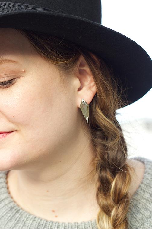 AEA Dagger earrings in sterling with labradorite $620
