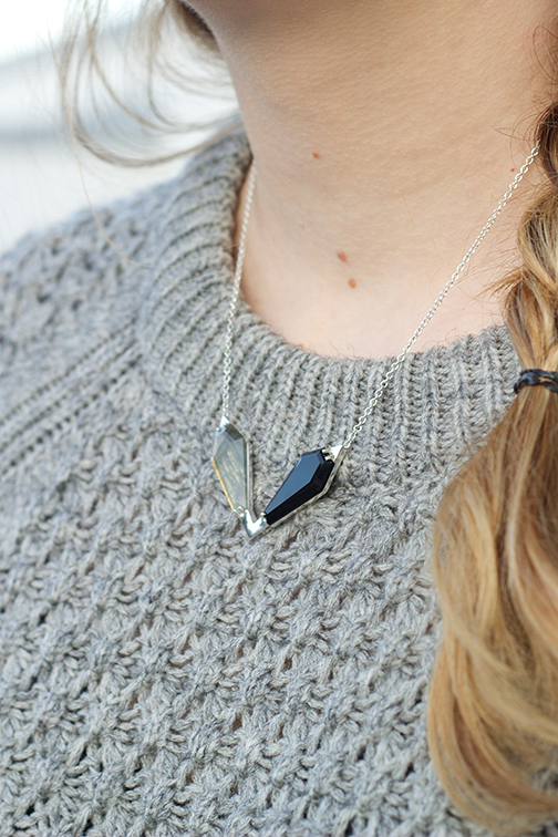 AEA Twin Peaks necklace in sterling with labradorite and onyx $735