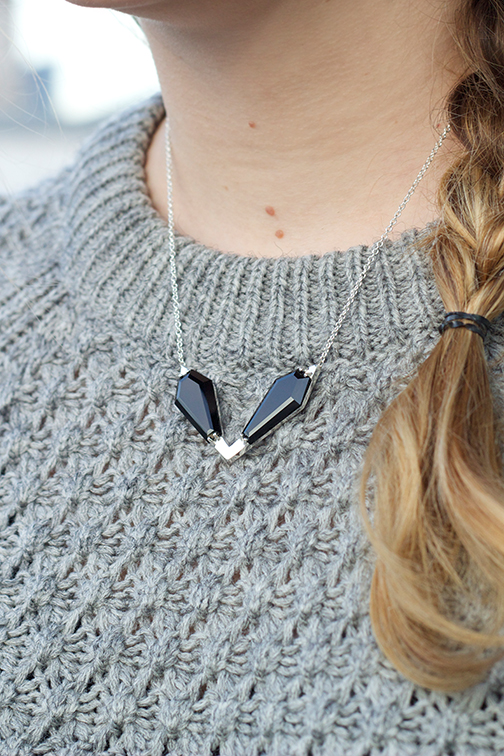 AEA Twin Peaks necklace in sterling with onyx $735