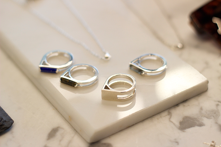 AEA Ribbon rings in sterling with lapis, pietersite and labradorite $355 each sz.7.  AEA Triangle ring in sterling $150 sz.6