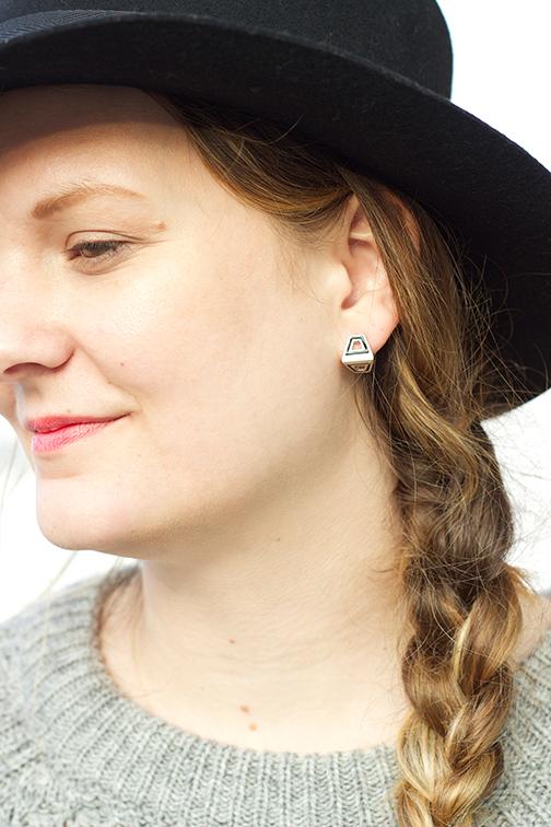 AEA Bond earring in sterling with black enamel $195
