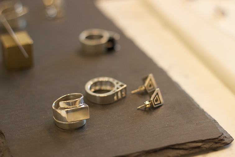 AEA helix ring in sterling $250 sz. 7,8 (pictured left). AEA Hinge ring in sterling sz. 6,7 (pictured center).