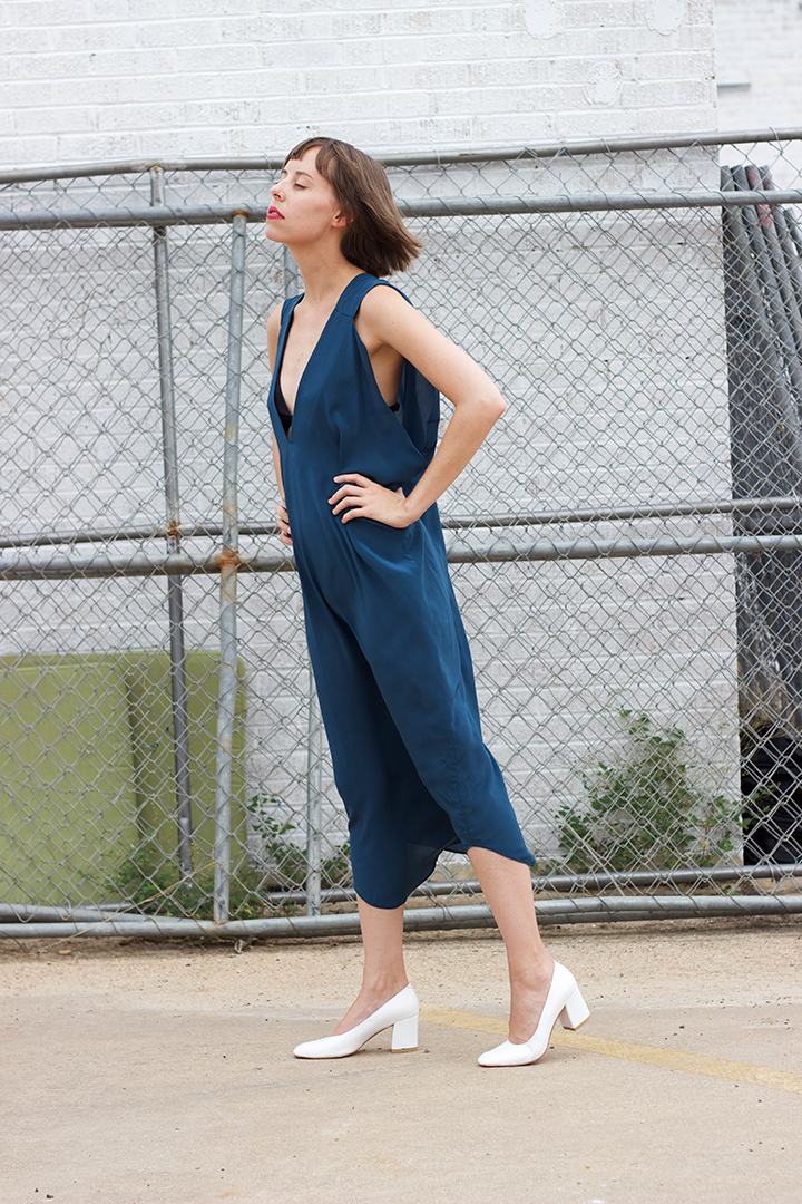 7115 by SZEKI   V-Neck Maxi Dress in Teal $245 (One Size).  PRAE  Muir T-Strap Bra in Black $165 (sizes XS,S,M,L available)