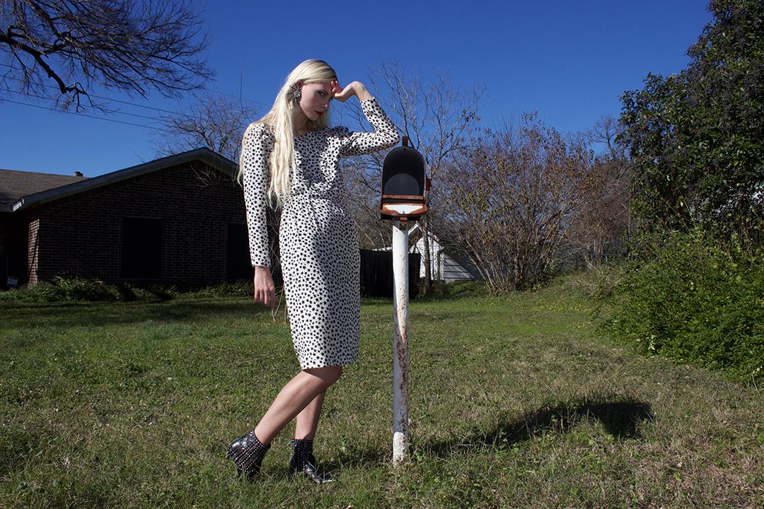 Rachel Pychinzska shot by Katy Shayne. Style by Masha Poloskova featuring Vintage 80s Silk  YSL  Star Dress.